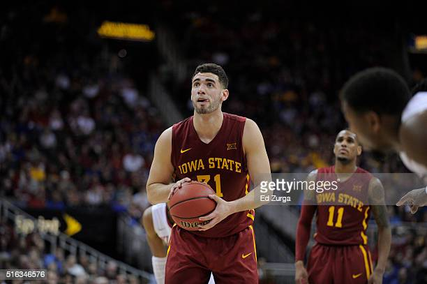 Georges Niang of the Iowa State Cyclones shoots a free throw against the Oklahoma Sooners during the quarterfinals of the Big 12 Basketball...