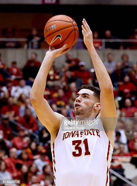 Georges Niang of the Iowa State Cyclones takes a three point shot in the first half of play against the Oklahoma State Cowboys at Hilton Coliseum on...