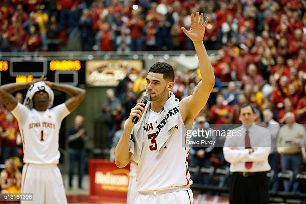 Georges Niang of the Iowa State Cyclones waves to fans from mid court on senior night after the Iowa State Cyclones defeated the Oklahoma State...