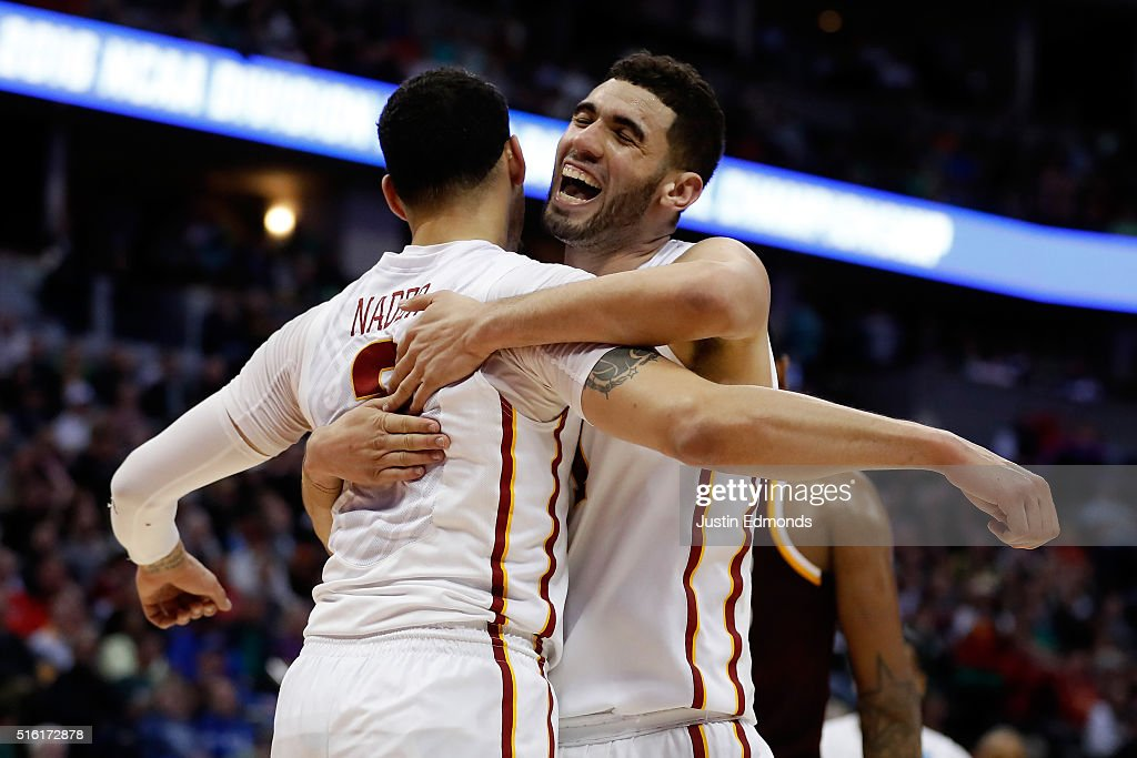 <a gi-track='captionPersonalityLinkClicked' href=/galleries/search?phrase=Georges+Niang&family=editorial&specificpeople=10061173 ng-click='$event.stopPropagation()'>Georges Niang</a> #31 reacts with Abdel Nader #2 of the Iowa State Cyclones after a basket against the Iona Gaels during the first round of the 2016 NCAA Men's Basketball Tournament at the Pepsi Center on March 17, 2016 in Denver, Colorado.
