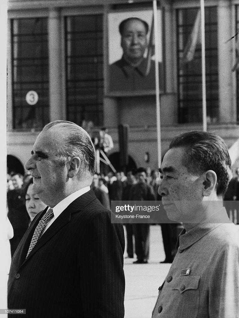 Georges Pompidou And Chou En Lai In Pekin On The Seventies