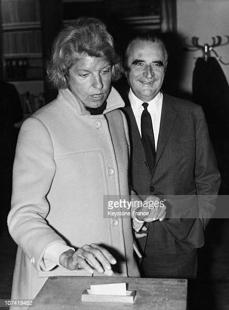 Georges Pompidou And Claude Pompidou Voting In Orvilliers On June 23Rd 1968