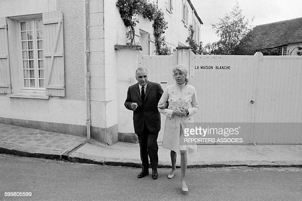 Georges Pompidou And Wife Claude Leaving Home 'La Maison Blanche' For Voting At The Presidential Election In Orvilliers France On June 1 1969