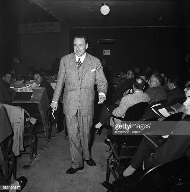 Georges Pompidou au 52e congrès du Parti Radical à la Bourse du travail à Lyon France en 1956