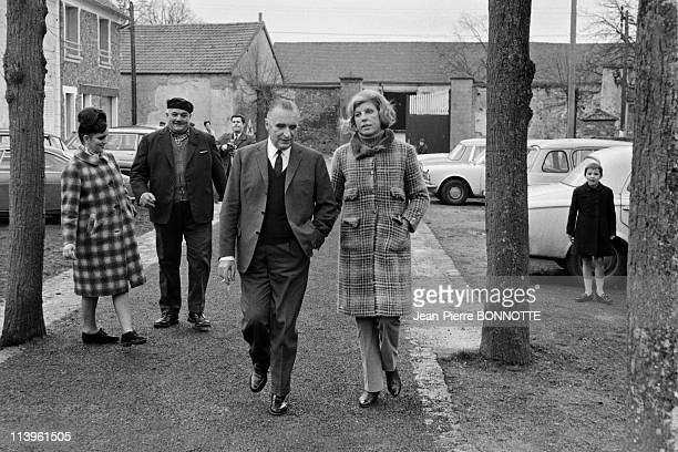 Georges Pompidou Files Pictures In Orvilliers France in March 1967Georges Pompidou and his wife Claude on their way to vote for General Elections