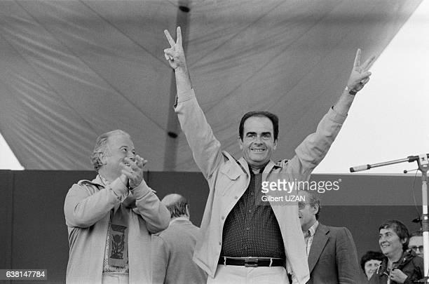 Georges Séguy et Georges Marchais à la Fête de l'Humanité à La Courneuve France le 8 septembre 1979