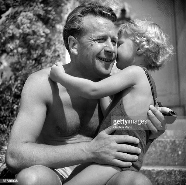 Georges Simenon Belgian writer and his son Marc FontenayleComte castle of TerreNeuve 1942 RV843887