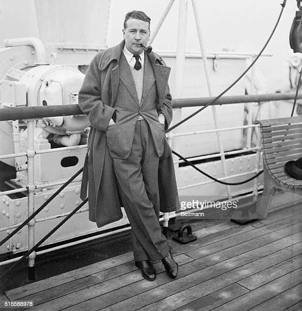 Georges Simenon noted French writer and journalist pictured as he arrived in New York City aboard the SS Lafayette