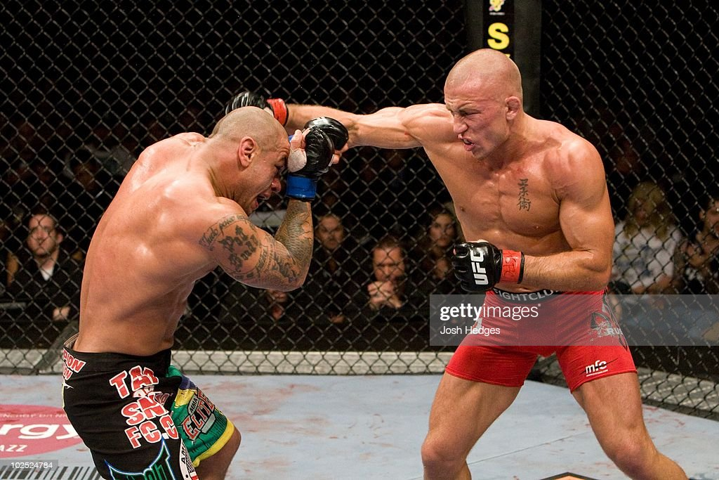 Georges St-Pierre (red tight shorts) def. Thiago Alves (black Brazil flag shorts) - Unanimous Decision during UFC 100 at Mandalay Bay Events Center on July 11, 2009 in Las Vegas, Nevada.