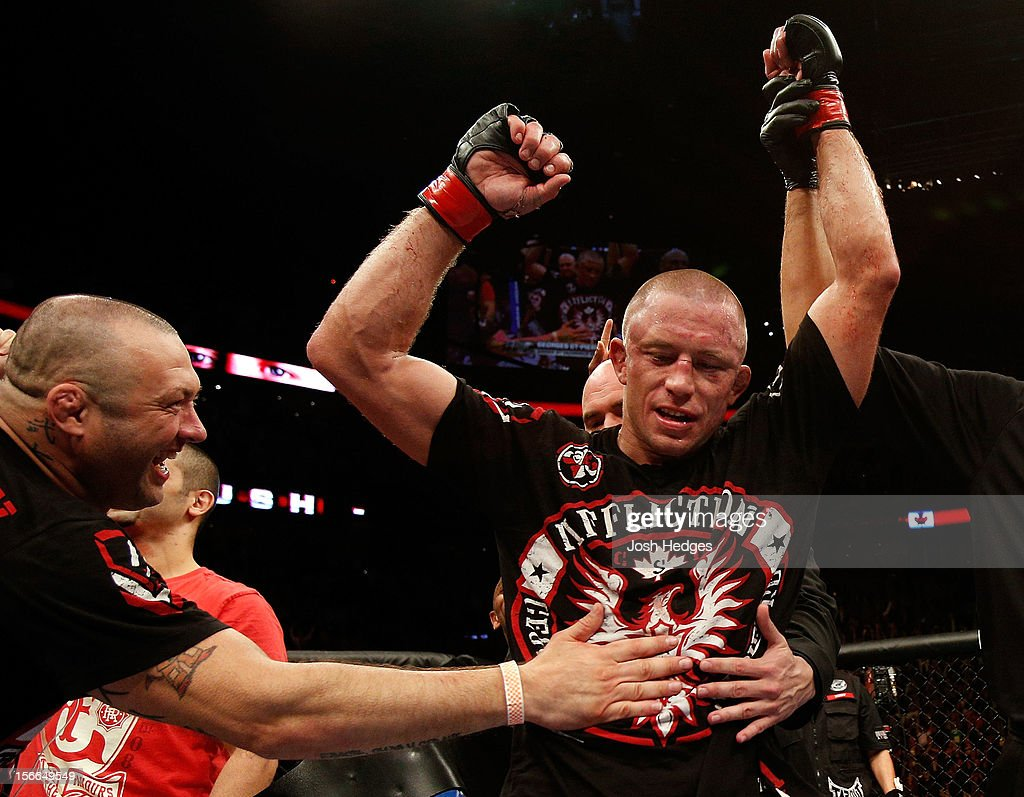 Georges St-Pierre reacts after defeating Carlos Condit by a unanimous decision to retain his welterweight title during UFC 154 on November 17, 2012 at the Bell Centre in Montreal, Canada.