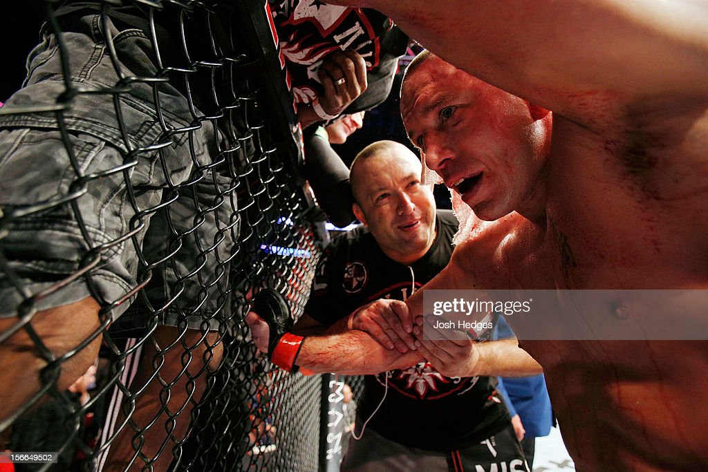 Georges St-Pierre reacts after fighting against Carlos Condit in the welterweight title bout during UFC 154 on November 17, 2012 at the Bell Centre in Montreal, Canada.