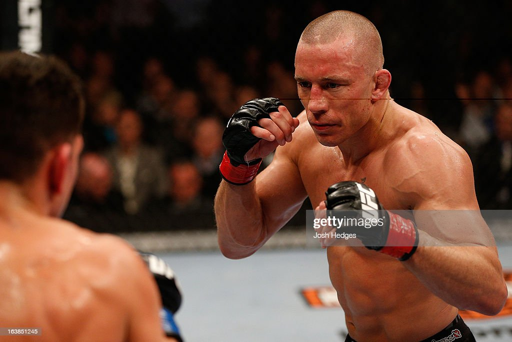 Georges St-Pierre squares off with Nick Diaz in their welterweight championship bout during the UFC 158 event at Bell Centre on March 16, 2013 in Montreal, Quebec, Canada.