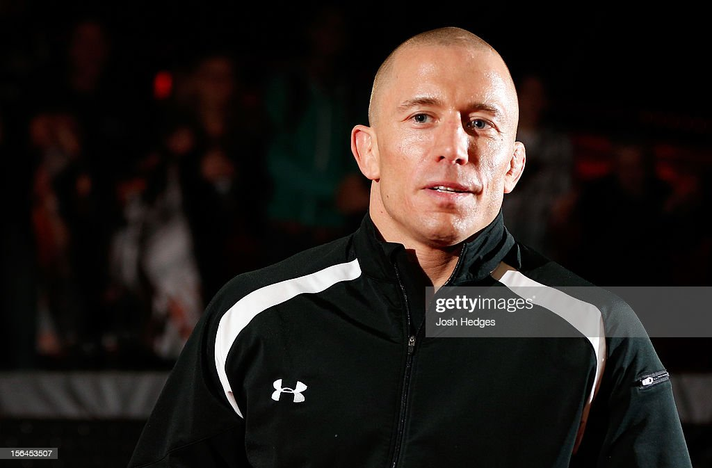 Georges St-Pierre stands in the Octagon during an open training session ahead of UFC 154 at New City Gas on November 15, 2012 in Montreal, Quebec, Canada.