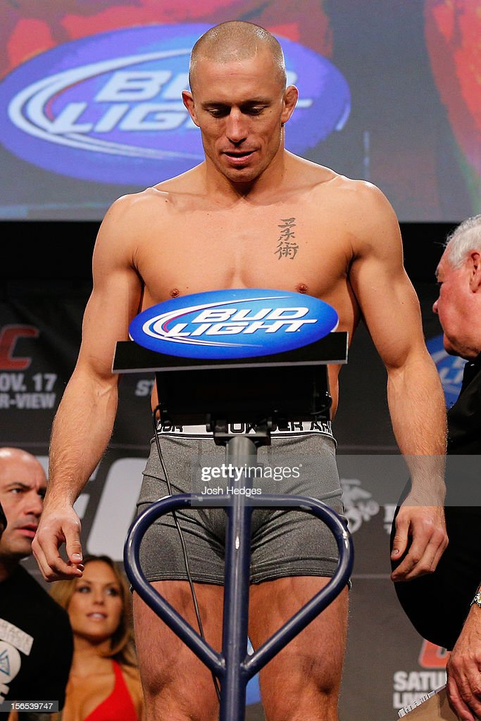 Georges St-Pierre weighs in during the official UFC 154 weigh in at New City Gas on November 16, 2012 in Montreal, Quebec, Canada.