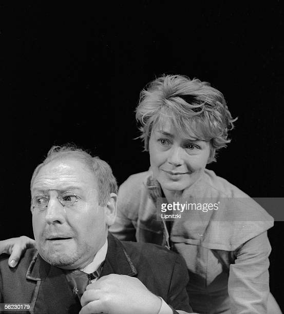 Georges Wilson and Emmannuelle Riva in ' The sun's Children ' of M Gorki Production G Wilson Paris TNP December 1960 LIP160021020