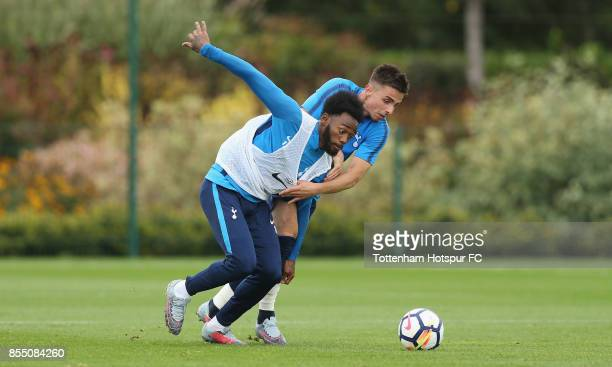 GeorgesKevin Nkoudou and Anthony Georgiou of Tottenham during the Tottenham Hotspur training session at Tottenham Hotspur Training Centre on...