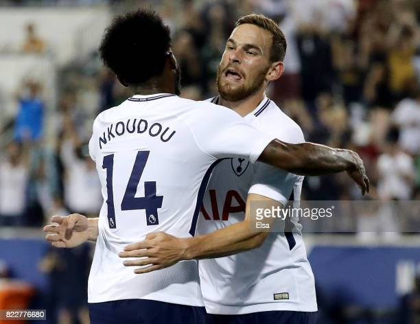 GeorgesKevin Nkoudou and Vincent Janssen of Tottenham Hotspur celebrate a goal in the second half against Roma during the International Champions Cup...