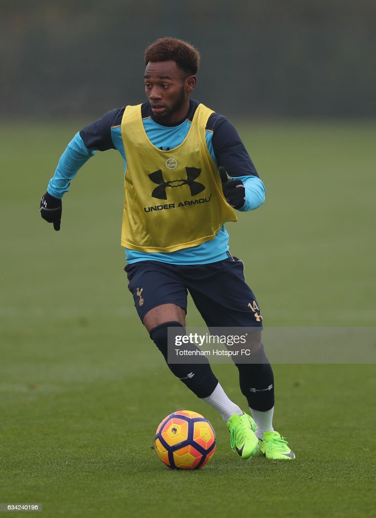 Georges-Kevin Nkoudou in action during the Tottenham Hotspur Training Session on February 8, 2017 in Enfield, England.