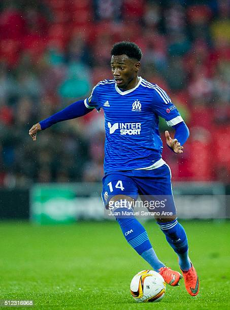 GeorgesKevin N'Koudou of Marseille controls the ball during the UEFA Europa League Round of 32 Second Leg match between Athletic Club and Marseille...