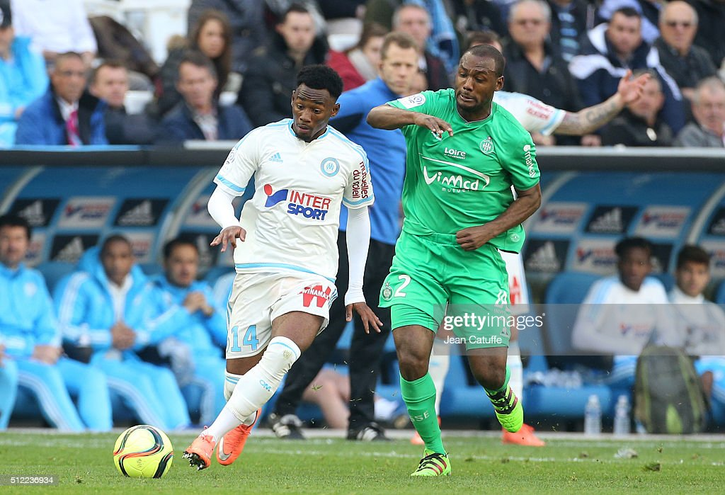 Georges-Kevin N'Koudou of OM and Kevin Theophile-Catherine of Saint-Etienne in action during the French Ligue 1 match between Olympique de Marseille (OM) and AS Saint-Etienne (ASSE) at New Stade Velodrome on February 21, 2016 in Marseille, France.