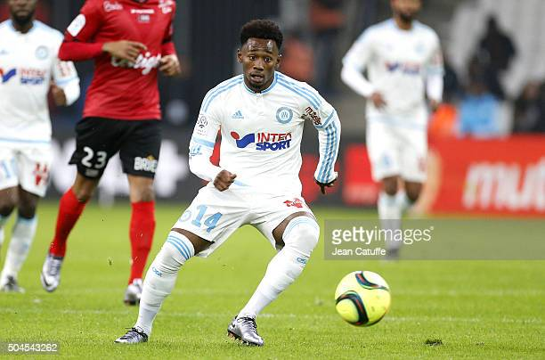 GeorgesKevin N'Koudou of OM in action during the French Ligue 1 match between Olympique de Marseille and En Avant Guingamp at New Stade Velodrome on...