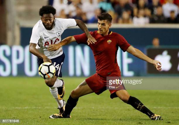 GeorgesKevin Nkoudou of Tottenham Hotspur and Lorenzo Pellegrini of Roma fight for the ball in the second half during the International Champions Cup...