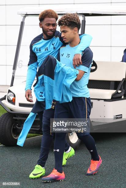 GeorgesKevin Nkoudou of Tottenham Hotspur and Marcus Edwards of Tottenham Hotspur walk out prior to the Tottenham Hotspur training session at the...