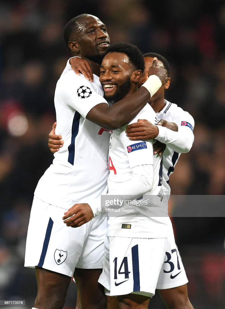 Georges-Kevin Nkoudou of Tottenham Hotspur celebrates after scoring his sides third goal with his Tottenham Hotspur team mates during the UEFA Champions League group H match between Tottenham Hotspur and APOEL Nicosia at Wembley Stadium on December 6, 2017 in London, United Kingdom.