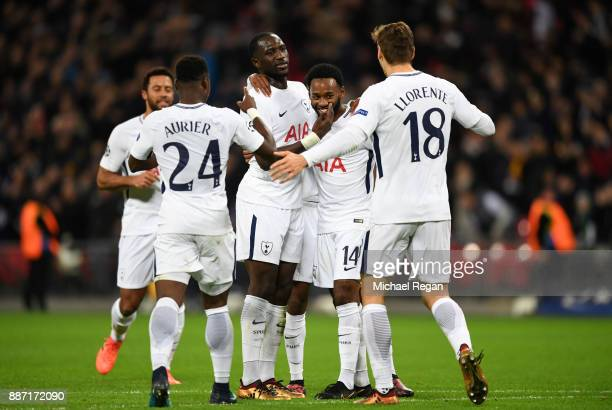 GeorgesKevin Nkoudou of Tottenham Hotspur celebrates after scoring his sides third goal with his Tottenham Hotspur team mates during the UEFA...