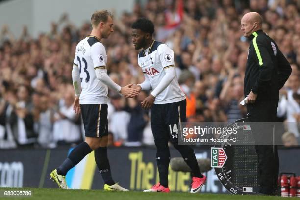 GeorgesKevin Nkoudou of Tottenham Hotspur comes on for Christian Eriksen of Tottenham Hotspur during the Premier League match between Tottenham...