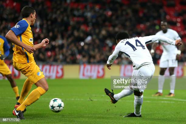 GeorgesKevin Nkoudou of Tottenham Hotspur scores the 3rd Tottenham goal during the UEFA Champions League group H match between Tottenham Hotspur and...