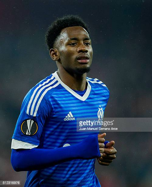 GeorgesKevin N'Koudou reacts during the UEFA Europa League Round of 32 Second Leg match between Athletic Club and Marseille at San Mames Stadium on...