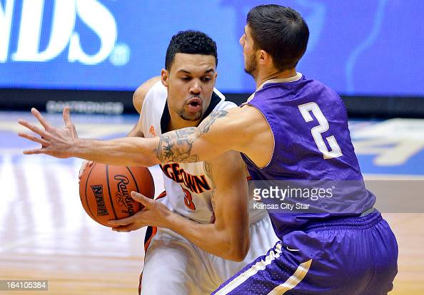 Georgetown College guard Monty Wilson tries to get the ball past Southwestern Assemblies of God University guard Caleb Gentry during first half of...