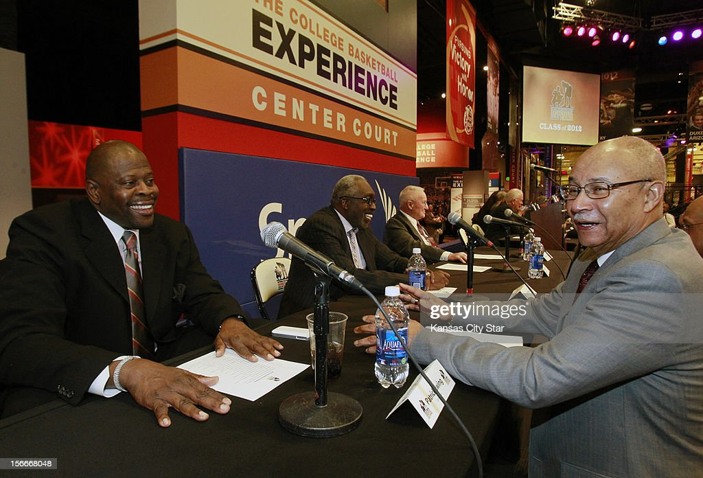 Georgetown great Patrick Ewing, left, visits with Reggie Minton, executive director of the National Association of Basketball Coaches, during ceremonies for the National Collegiate Basketball Hall of Fame on Sunday, November 18, 2012, in Kansas City, Missouri.