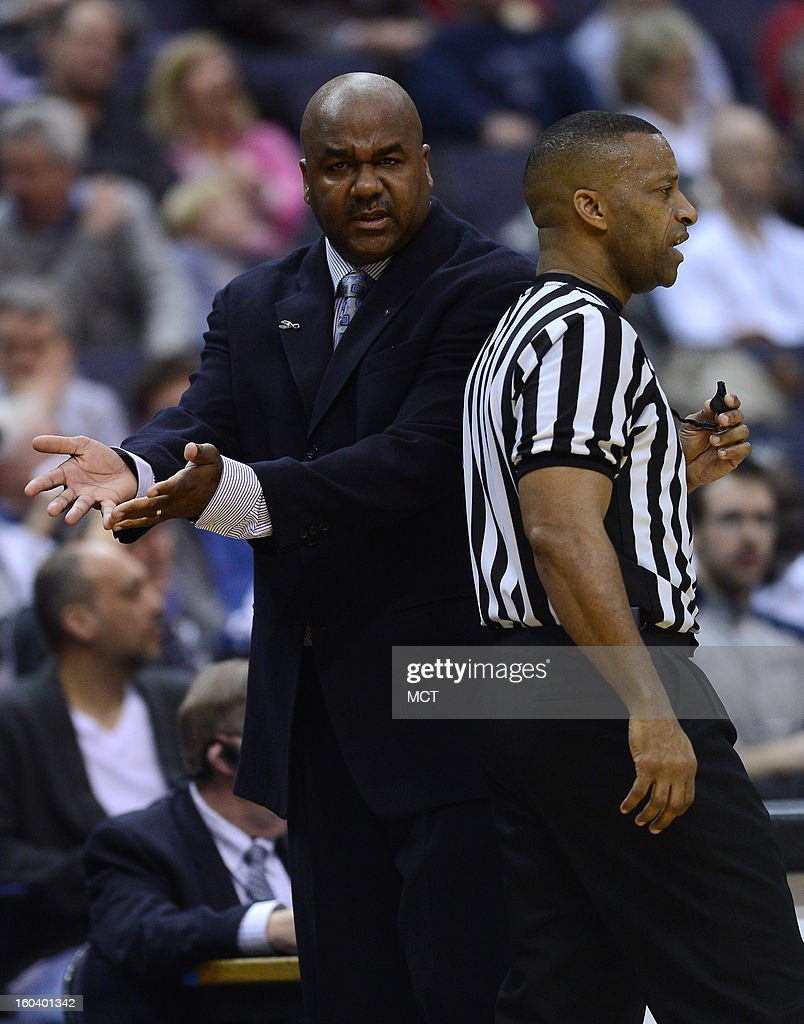 Georgetown head coach John Thompson III complains about a foul call to a referee in the first half against Seton Hall at the Verizon Center in Washington, D.C., Wednesday, January 30, 2013. Georgetown defeated Seton Hall, 74-52.