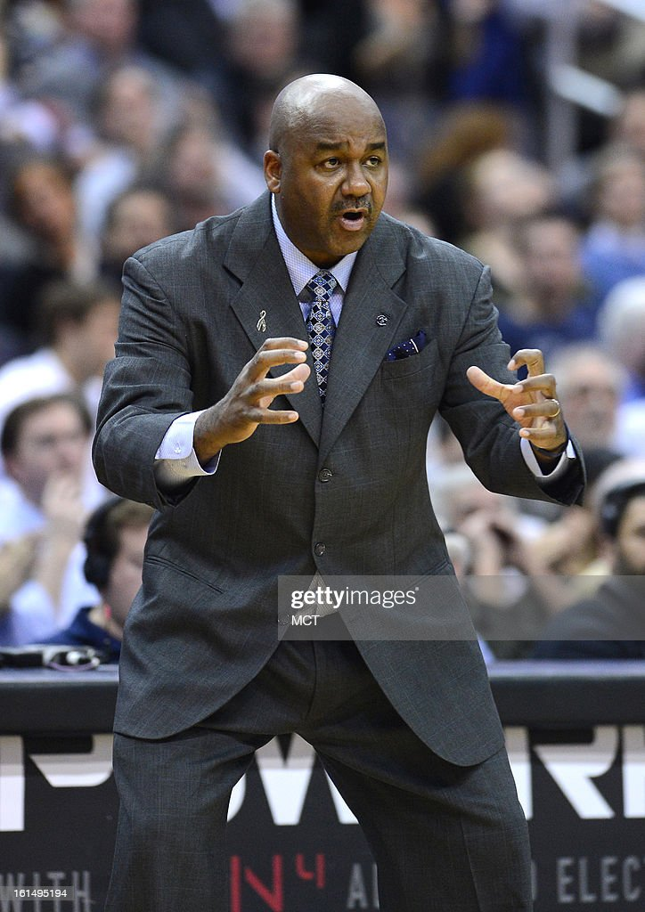 Georgetown head coach John Thompson III directs his players in the second half against Marquette at the Verizon Center in Washington, D.C., Monday, February 11, 2013. Georgetown defeated Marquette, 63-55.