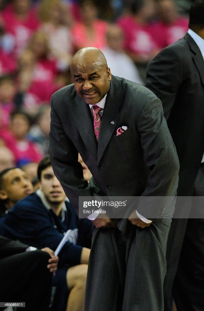 Georgetown Hoyas coach John Thompson III reacts to a call during their game against the Creighton Bluejays at CenturyLink Center on January 25 2014...
