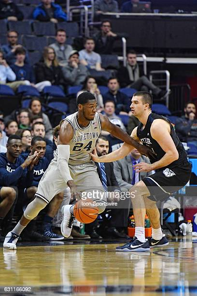 Georgetown Hoyas forward Marcus Derrickson drives to the basket in the first half against Butler Bulldogs forward Andrew Chrabascz on January 7 at...