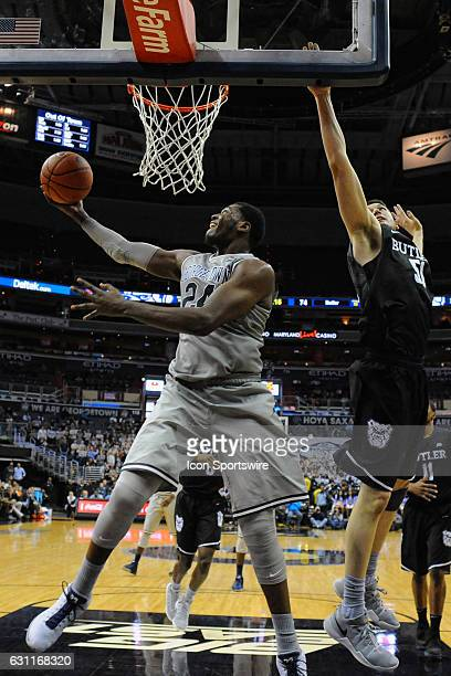 Georgetown Hoyas forward Marcus Derrickson goes to the basket in overtime against Butler Bulldogs center Nate Fowler on January 7 at the Verizon...