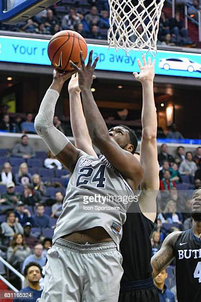 Georgetown Hoyas forward Marcus Derrickson scores and is fouled by Butler Bulldogs center Nate Fowler in the second half on January 7 at the Verizon...