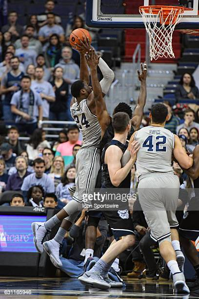 Georgetown Hoyas forward Marcus Derrickson scores in the first half against the Butler Bulldogs on January 7 at the Verizon Center in Washington DC