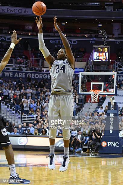 Georgetown Hoyas forward Marcus Derrickson scores in the second half against the Butler Bulldogs on January 7 at the Verizon Center in Washington DC...