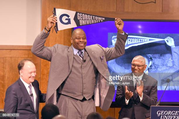 Georgetown president John J DeGioia and Athletic Director Lee Reed introduce Athletics Director NBA Hall of Famer and former Georgetown Hoyas player...
