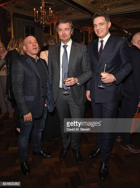 Georgi Akirov Laurent Feniou and Thomas Kochs attend The Rake 50th issue party at Hotel Cafe' Royal on February 10 2017 in London England
