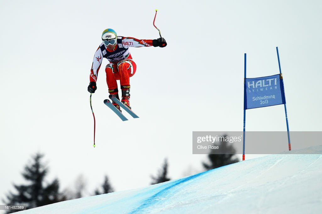 Georgi Georgiev of Bulgaria skis in the Men's Super Combined during the Alpine FIS Ski World Championships on February 11, 2013 in Schladming, Austria.