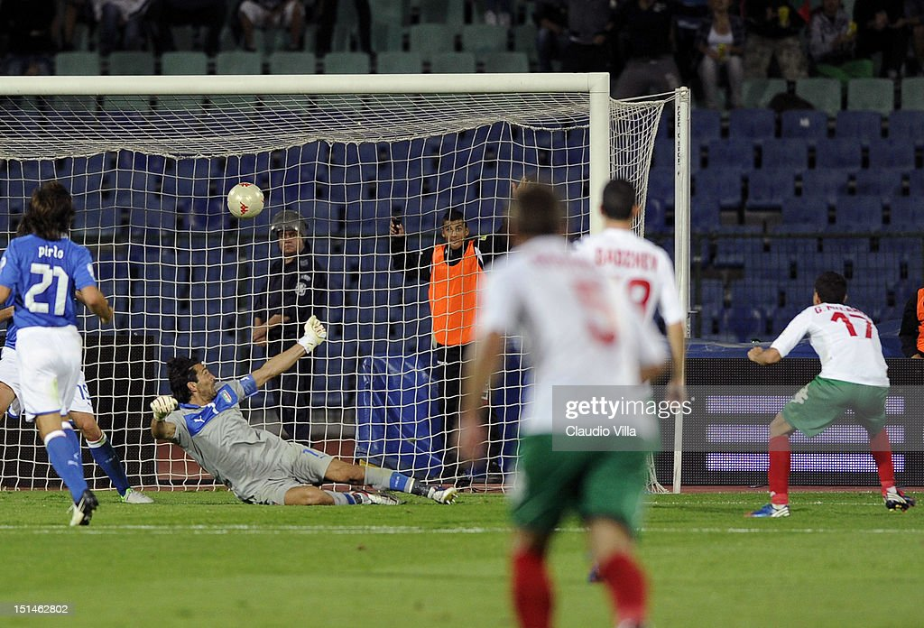 Georgi Milanov #17 of Bulgaria scores past Italy goalkeeper Gianluigi Buffon during the FIFA 2014 World Cup Qualifier match between Bulgaria and Italy at Vasil Levski National Stadium on September 7, 2012 in Sofia, Bulgaria.