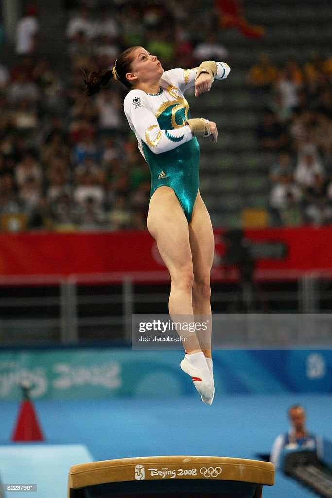 Georgia Bonora of Australia performs on the vault during the women's artistic gymnastics event held at the National Indoor Stadium during Day 2 of the 2008 Summer Olympic Games on August 10, 2008 in Beijing, China.