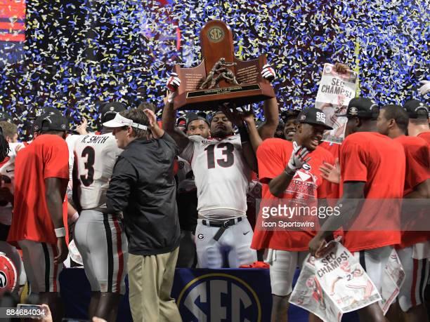 Georgia Bulldogs defensive linemen Jonathan Ledbetter celebrates after winning the SEC Championship game between the Georgia Bulldogs and the Auburn...