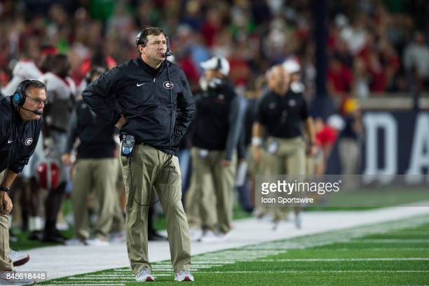 Georgia Bulldogs head coach Kirby Smart on the sidelines during the college football game between the Notre Dame Fighting Irish and Georgia Bulldogs...