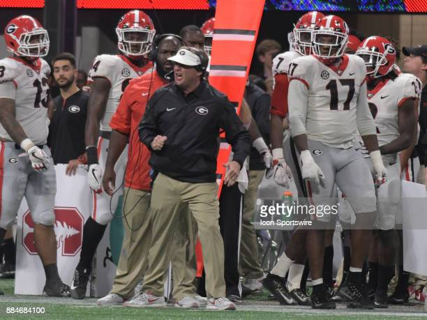 Georgia Bulldogs Head Coach Kirby Smart reacts to a play during the SEC Championship game between the Georgia Bulldogs and the Auburn Tigers on...